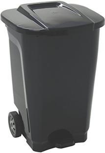 Lixeira Em Plastico T-Force Preto De 100L Com Eixo De Metal E Rodas De Borracha Tramontina 92815/009