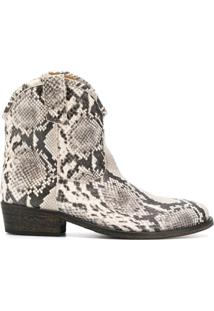 Via Roma 15 Ankle Boot Com Padronagem De Cobra - Branco