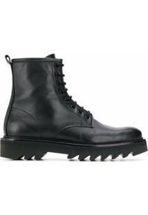 Ami Paris Ankle Boot De Couro Com Cadarço - Preto
