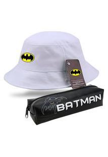 Chapeu Moda Praia Bucket Branco Personalizado Batman Com Estojo Escolar