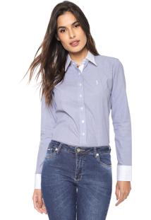 Camisa Aleatory Recortes Azul/Branca