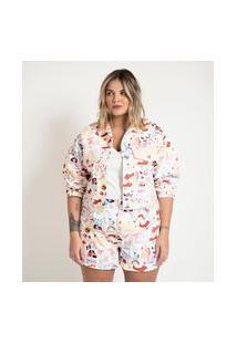 Jaqueta Em Sarja Com Estampa Namorados Curve & Plus Size | Ashua Curve E Plus Size | Rosa | G