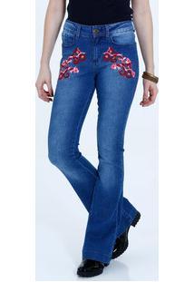 b2c73bb3db Calça Feminina Jeans Flare Bordado Flores Marisa