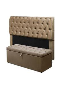 Cabeceira Mais Calçadeira Baú Casal Queen 160Cm Para Cama Box Paris Suede Capuccino - Ds Móveis