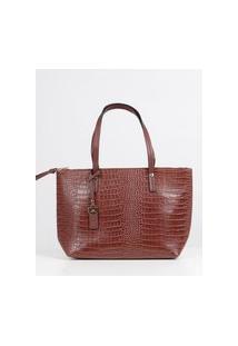 Bolsa Shopping Bag Croco Feminina Marrom
