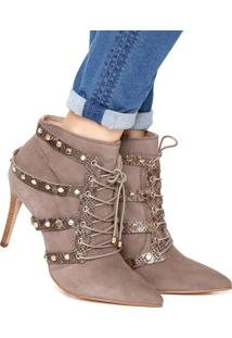 Ankle Boot Couro Jorge Bischoff Tachas Cinza