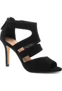 Sandália Couro Shoestock Salto Fino Nobuck Feminina - Feminino-Preto