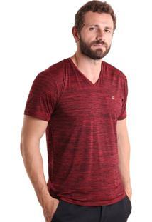 Camiseta Liquido Gola V Mescla - Vermelho P