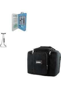 Kit Bolsa Térmica Fitness Preta G + Fone De Ouvido Bluetooth Sports