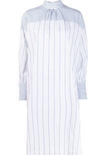 Ganni Vestido Reto Com Listras Contrastantes - Branco