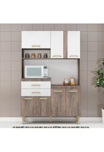 Cozinha Compacta Dora 7 Portas Naturalle/Branco - Fellicci