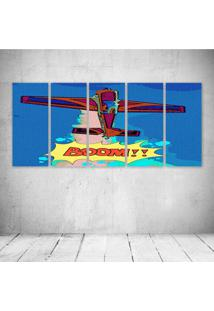 Quadro Decorativo - Airplane Pop Art - Composto De 5 Quadros - Multicolorido - Dafiti