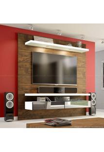 Home Suspenso Para Tv Até 60 Polegadas 100% Mdf 2 Gavetas Com Espelho E Led Tb107E 180 X 180 X 40 Nobre/Off White - Dalla Costa