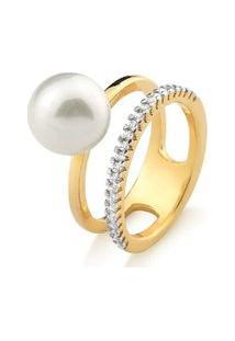 Anel Banho Ouro 18K Pérola Shell Branca E Zircônias Cristal