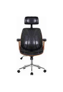 Cadeira Kopenhagen Presidente Preta Acabamento Madeira 124Cm - 62561 Preto
