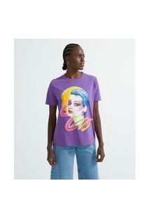 Blusa Manga Curta Em Algodão Estampa Mulher Com Cabelo Colorido