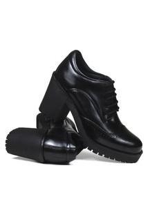 Sapato Casual Oxford Botinha Feminina Salto Alto Couro Preto