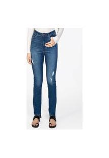 Calça Feminina Jeans Barra Assimétrica Stone Med