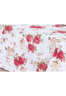 Kit Colcha Casal Requinte 3 Peças 180 Fios Bia Enxovais Floral Vermelho