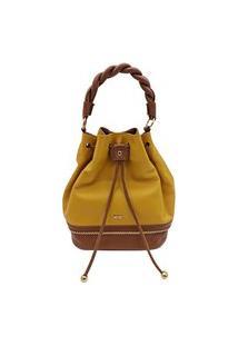 Bolsa Feminina Mayon 5242 Marselha Amarelo/Caramelo Couro