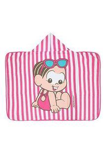 Toalha Banho Bebê Feminina Listrada Pink Mônica Baby Com Capuz - Turma Da Mônica - Tamanho Único - Pink,Branco