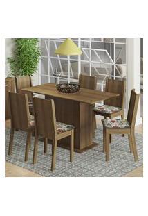 Conjunto Sala De Jantar Madesa Celeny Mesa Tampo De Madeira Com 6 Cadeiras - Rustic/Floral Hibiscos Marrom