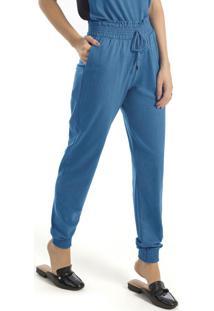Calça Feminina Em Malha Azul