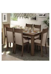 Conjunto Sala De Jantar Madesa Jaíne Mesa Tampo De Madeira Com 6 Cadeiras Rustic/Crema/Pérola Rustic