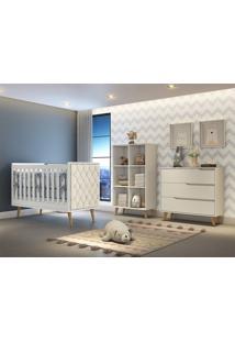 Dormitório Valentina Comoda 3 Gavetas Guarda Roupa Montessoriano Berço Lorena C/ Capitone Carolina Baby - Tricae
