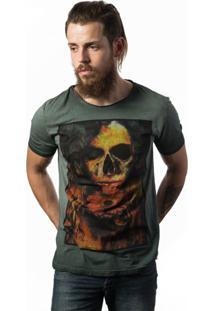 Camiseta Skull Lab Caveira Love Skull Verde