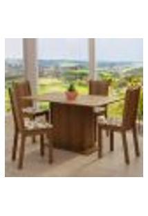 Conjunto Sala De Jantar Madesa Luana Mesa Tampo De Madeira Com 4 Cadeiras - Rustic/Bege Marrom