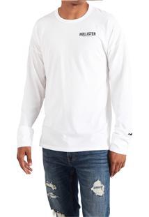 Camiseta Manga Longa Hollister Gráfica Branca