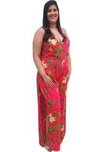 Macacão Longo Linda D+ Com Abertura Lateral Pink - Kanui