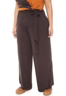 Calça Pantalona Plus Size Lisa Feminina - Feminino-Marrom