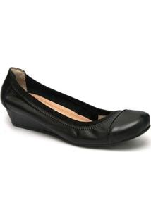 Sapato Anabela 805-0001 Calçar Bem Feminino - Feminino-Preto