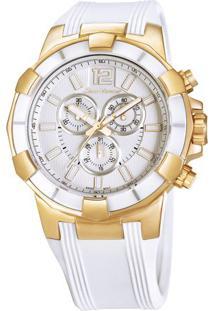 Relógio Analógico Jv01005- Rosê Gold & Branco- Jean Jean Vernier