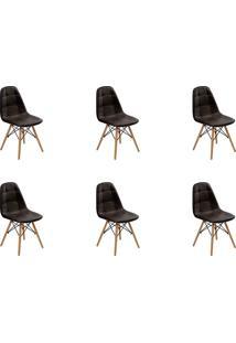 Kit 06 Cadeiras Eiffel Botone S/ Braço Marrom Rivatti
