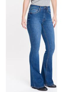 Calça Jeans Feminina Five Pockets Flare Cintura Super Alta Azul Marinho Calvin Klein - 34