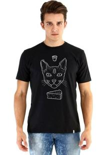 Camiseta Ouroboros Manga Curta Cat Demon - Masculino-Preto