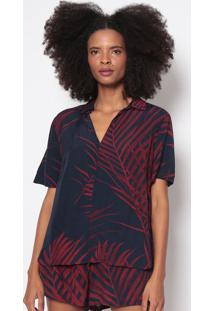 Blusa Folhagem-Azul Marinho & Vermelho Escuroosklen