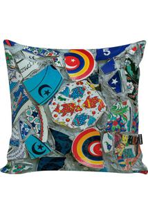 Capa De Almofada Turkish Mosaic- Cinza & Azul- 45X45Stm Home