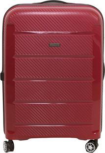 Mala De Viagem Luxcel Textura Rodas 360º - Masculino-Vermelho