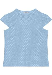 Blusa Poã¡- Azul Claro & Branca- Rovitexrovitex