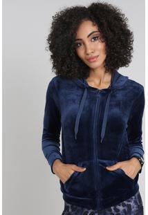 Blusão Feminino Esportivo Ace Em Plush Com Capuz Azul Marinho