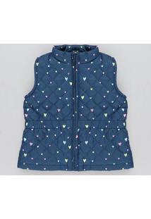 Colete Infantil Puffer Matelassê Estampado De Corações Azul Marinho