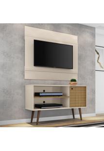 Rack Com Painel Para Tv Até 42 Polegadas Jade Off White/Cinamomo - Bechara Móveis