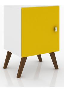 Rack Auxiliar Com 1 Porta Móvel Bento Branco/Amarelo