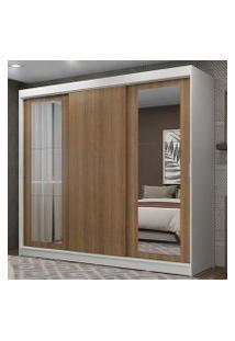 Guarda-Roupa Casal Madesa Kansas 3 Portas De Correr Com Espelhos 3 Gavetas Branco/Rustic Cor:Branco/Rustic