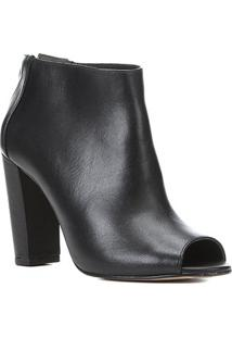 Sandal Boot Couro Shoestock Salto Alto Feminina - Feminino-Preto