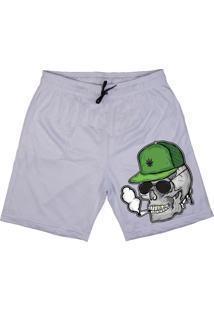 Bermuda Tecido Skull Clothing Caveira Smoke Branco